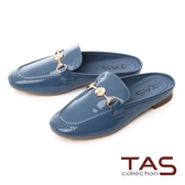 TAS一字小雛菊飾釦牛漆皮穆勒鞋-霧藍