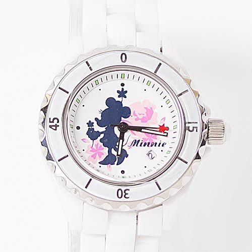 ★funbox生活用品★迪士尼米妮剪影陶瓷錶_ID99105