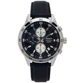 SEIKO 個性競速款的計時皮帶手錶(SKS649P1)-灰黑色面X黑色/44mm