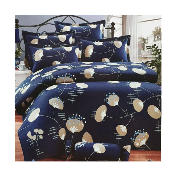 【免運】精梳棉 雙人特大舖棉床包(含舖棉枕套) 台灣精製 ~花漾舞曲/藍~