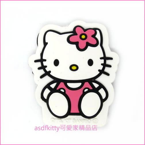 asdfkitty可愛家☆KITTY全身造型粉紅色小花裝飾磁鐵-汽車.機車.冰箱.微波爐.電腦主機都可貼-日本