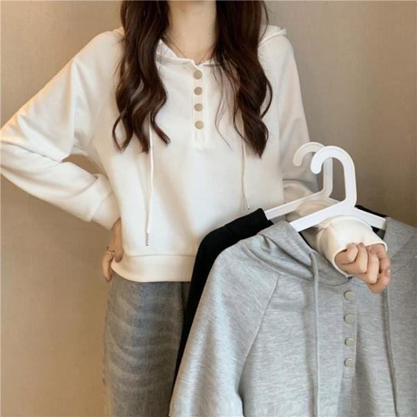 短款上衣 早秋季2021年新款設計感小眾短款長袖連帽衛衣春秋chic白色上衣女 韓國時尚週