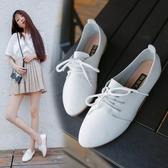 韓版小白鞋女百搭夏女鞋系帶小皮鞋牛津鞋休閒鞋透氣平底平跟單鞋