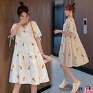 熱賣孕婦洋裝 高級感孕婦裝夏裝連身裙網紅刺繡棉麻短袖夏季中長款上衣夏天裙子【618 狂歡】
