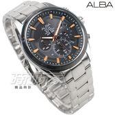 ALBA雅柏錶 Solar 太陽能 三眼計時 限定錶 防水錶 藍寶石水晶 男錶 黑x玫瑰金 AZ5001X1 VR42-X014K