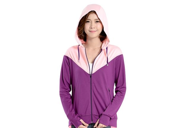 UV100 防曬 抗UV-涼感雙色落肩連帽外套-女