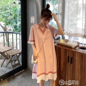 純棉孕婦裝洋裝上衣打底衫中長款T恤V領短袖夏裝寬鬆大碼孕婦裙 小城驛站