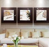現代簡約餐廳客廳裝飾畫立體3D浮雕三聯畫無框山水沙發背景牆挂畫XW(男主爵)