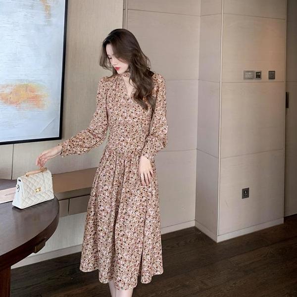 洋裝連身裙秋裝新款女裝法式長裙設計感小眾高端碎花雪紡連身裙子T624紅粉佳人