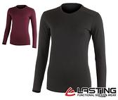 丹大戶外用品【LASTING】女款長袖羊毛T恤 LT-LADA 黑/深紫紅