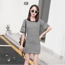 洋裝 條紋連身裙M-3XL條紋學院風裙子...