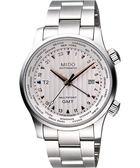 MIDO 美度 Multifort GMT世界時區機械錶-銀/42mm M0059291103100