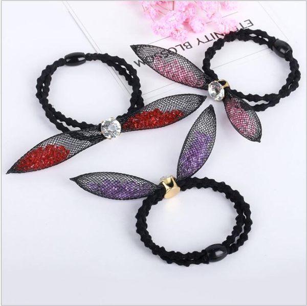 韓版 頭飾 網紗 水晶粒 兔耳朵 髮圈 雙層 竹節 皮筋 女生 飾品