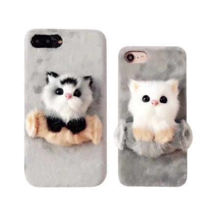 【SZ34】毛絨貓咪iPhone8 plus毛絨貓咪手機殼iPhoneX保護套卡通可愛娃娃6s超萌少女款