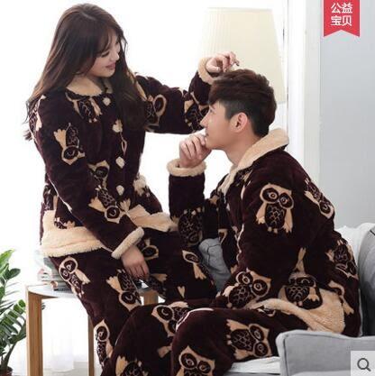 熊孩子ஐ情侶睡衣男女士冬季珊瑚絨法蘭絨三層夾棉保暖加厚可愛外穿家居服(棕色809-810)