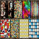 歐式彩色復古教堂彩繪藝術靜電磨砂玻璃貼膜...