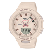 CASIO手錶專賣店 BABY-G  BSA-B100-4A1  時尚運動藍牙雙顯錶 杏粉 防水100米 計步器