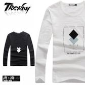 『潮段班』【SD091198】個性印花秋冬幾何圖形字母長袖上衣圓領T恤