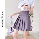 A字裙 【兩種長度小個子高個子均可】加長煙紫色百褶裙女夏高腰半身短裙
