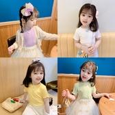 2020夏季女童短袖彈力上衣兒童百搭衫正韓洋氣卡通T恤圓領套頭衫