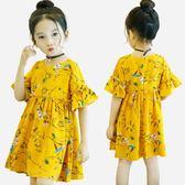 女童短袖洋裝夏裝新款韓版小女孩洋氣兒童雪紡公主裙子童裝 米蘭潮鞋館