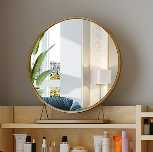 化妝鏡 梳妝台鏡臥室鏡子網紅大號鏡子家用復古梳妝鏡台式桌面鏡子 - 歐美韓