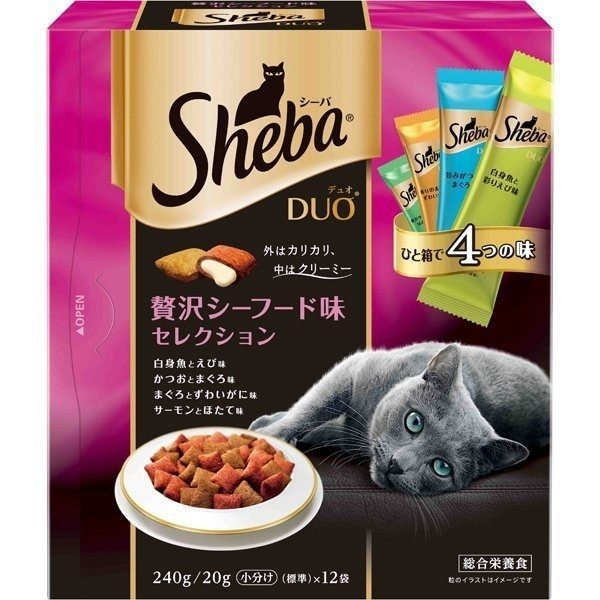 *KING WANG*【單盒】日本Sheba DUO《貓餡餅240g/盒》貓咪零食/貓餅乾 多種口味