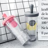 塑料杯簡約雙層透明防漏塑料水杯男女士個性大容量牛奶飲料吸管杯子 快意購物網
