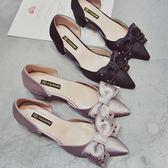 涼鞋女夏時尚外穿百搭2018新款單鞋尖頭蝴蝶結粗跟鞋
