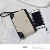 季初季簡約棉麻帆布手拿包2020新品大容量小包女潮拉鏈手機零錢包 漾美眉韓衣