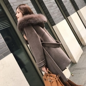 呢子外套 大毛領連帽大衣女2019新款韓版寬松顯瘦雙面呢中長款外套秋冬【快速出貨】