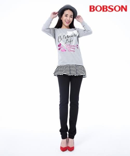 BOBSON 女款低腰膠原蛋白拉毛小直筒褲(8139-87)