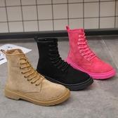 短靴 馬丁靴女夏季透氣新款網紅瘦瘦靴原宿英倫風絨面學生百搭短靴 (快速出貨)