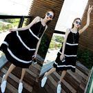 加大碼女裝春夏季新款胖mm顯瘦寬鬆漏背吊帶連身裙沙灘裙200斤  巴黎街頭
