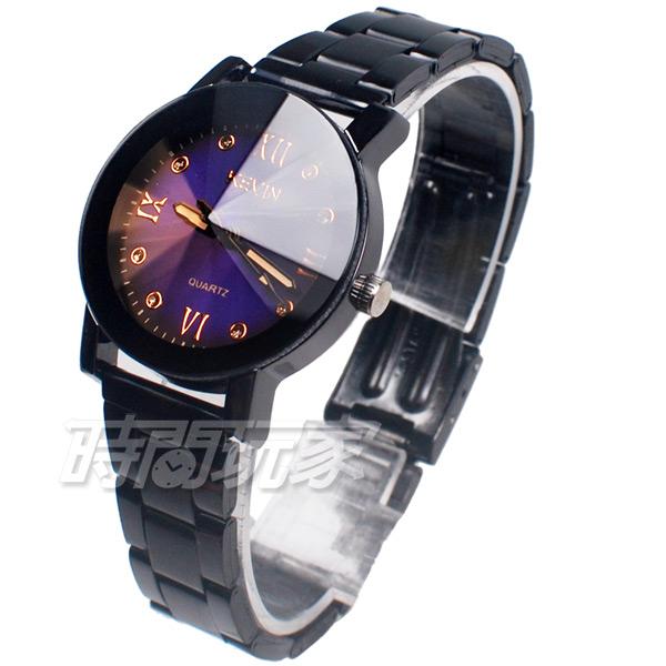 KEVIN 羅馬晶鑽造型時尚流行錶 立體多角切割鏡面 學生錶 防水手錶 IP黑電鍍 女錶 KV2068B藍小