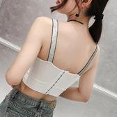 百搭短款裹胸防走光吊帶背心顯瘦打底衫運動后背搭扣文胸