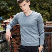 針織毛衣-V領純色休閒寬鬆羊毛男針織衫2色73pg41【巴黎精品】