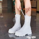 blackup靴子白色馬丁靴女夏季薄款透氣中筒厚底百搭機車短靴ins潮 喜迎新春