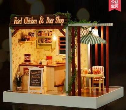 智趣屋 diy小屋咖啡吧迷你房子手工建築模型小屋聖誕節送男女朋友