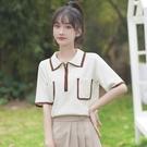 polo衫 2020夏新款冰絲針織短袖t恤女寬鬆拼色polo衫口袋百搭上衣