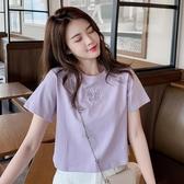 蝴蝶刺繡短袖t恤女2020年夏裝新款韓版減齡圓領小個子短款上衣女 【中秋節】