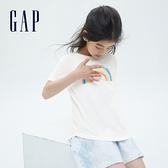 Gap女童 純棉雙面亮片短袖T恤 834058-白色