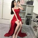 平口洋裝/一字領 主播服裝女夜總店性感連身裙吊帶長裙顯瘦晚宴會法國小眾禮服裙子