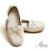 專櫃女鞋 縫線蝶結豆豆底懶人鞋-艾莉莎Alisa【8803】米白色下單區