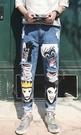 找到自己品牌 男 時尚 潮 街頭 時尚 塗漆 卡通印花 破洞 休閒牛仔褲 九分褲 直筒褲