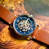 FOSSIL / ME3159 / 機械錶 鏤空錶盤 自動上鍊 手動上鍊 真皮手錶 藍x橘棕 42mm