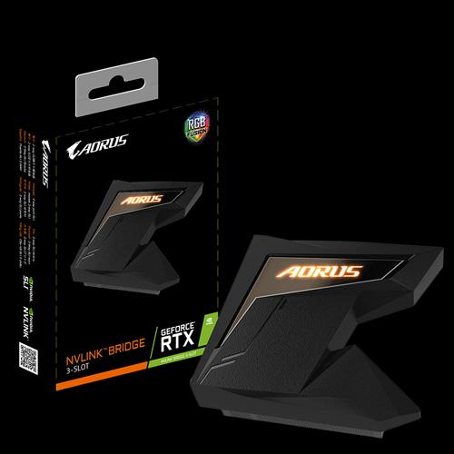 Gigabyte 技嘉 AORUS NVLINK BRIDGE 3-SLOT 顯卡橋接器(間隔60mm/RTX 2080 2080Ti 專用/RGB FUSION呼吸燈)