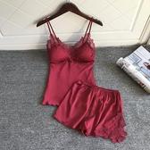性感睡衣性感睡衣套裝女聚攏小胸夏季火辣成人冰絲綢帶胸墊吊帶睡褲兩件套 聖誕交換禮物