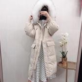羽絨夾克-貉子毛領抽繩大口袋長款女連帽外套4色73wc15【巴黎精品】