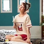【預購款】居家服夏季新款睡衣套裝女短袖短褲甜美兩件套可外穿5011#【時尚潮流部落】